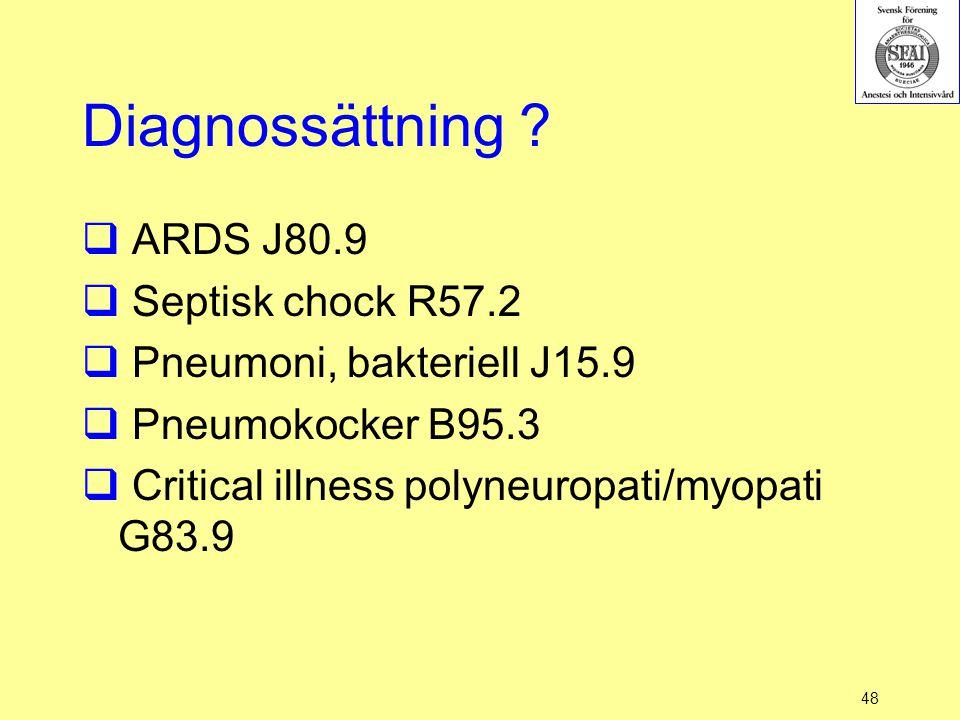 Diagnossättning ARDS J80.9 Septisk chock R57.2