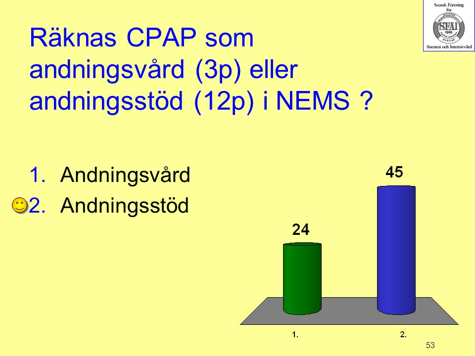 Räknas CPAP som andningsvård (3p) eller andningsstöd (12p) i NEMS