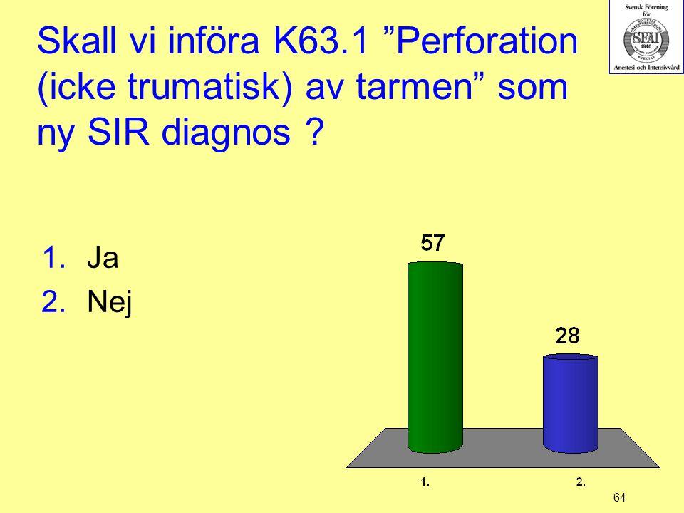 Skall vi införa K63.1 Perforation (icke trumatisk) av tarmen som ny SIR diagnos