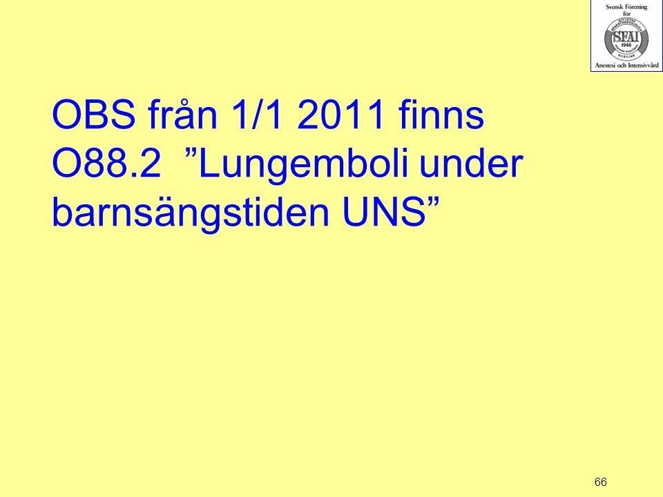 OBS från 1/1 2011 finns O88.2 Lungemboli under barnsängstiden UNS