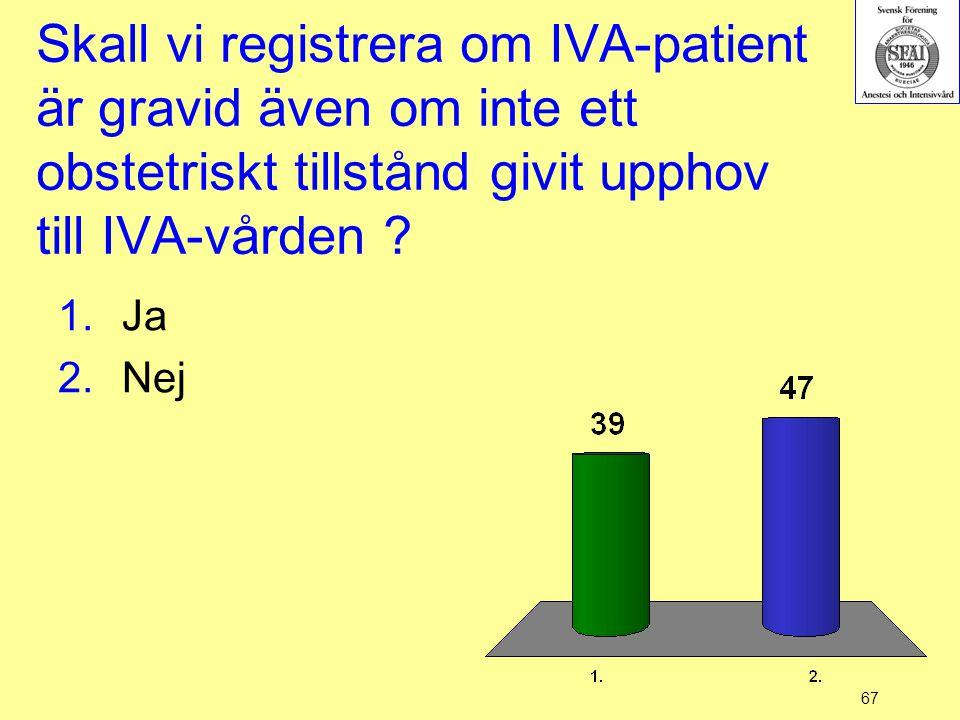 Skall vi registrera om IVA-patient är gravid även om inte ett obstetriskt tillstånd givit upphov till IVA-vården