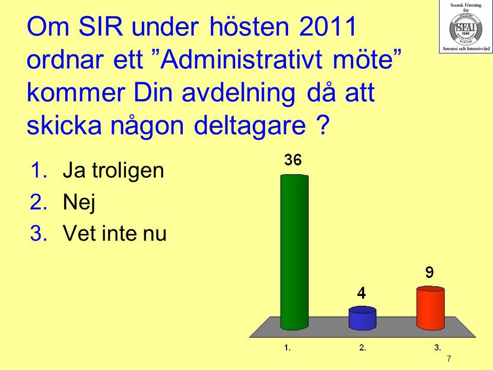 Om SIR under hösten 2011 ordnar ett Administrativt möte kommer Din avdelning då att skicka någon deltagare
