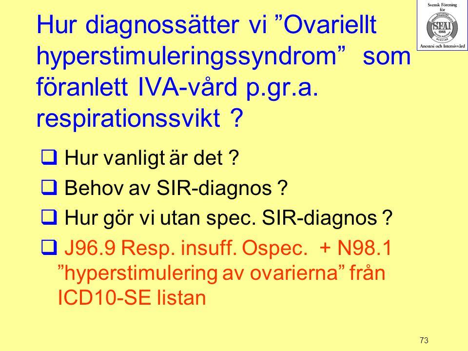 Hur diagnossätter vi Ovariellt hyperstimuleringssyndrom som föranlett IVA-vård p.gr.a. respirationssvikt