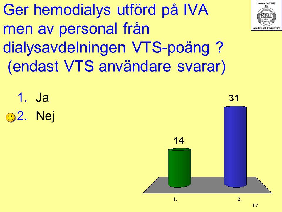 Ger hemodialys utförd på IVA men av personal från dialysavdelningen VTS-poäng (endast VTS användare svarar)