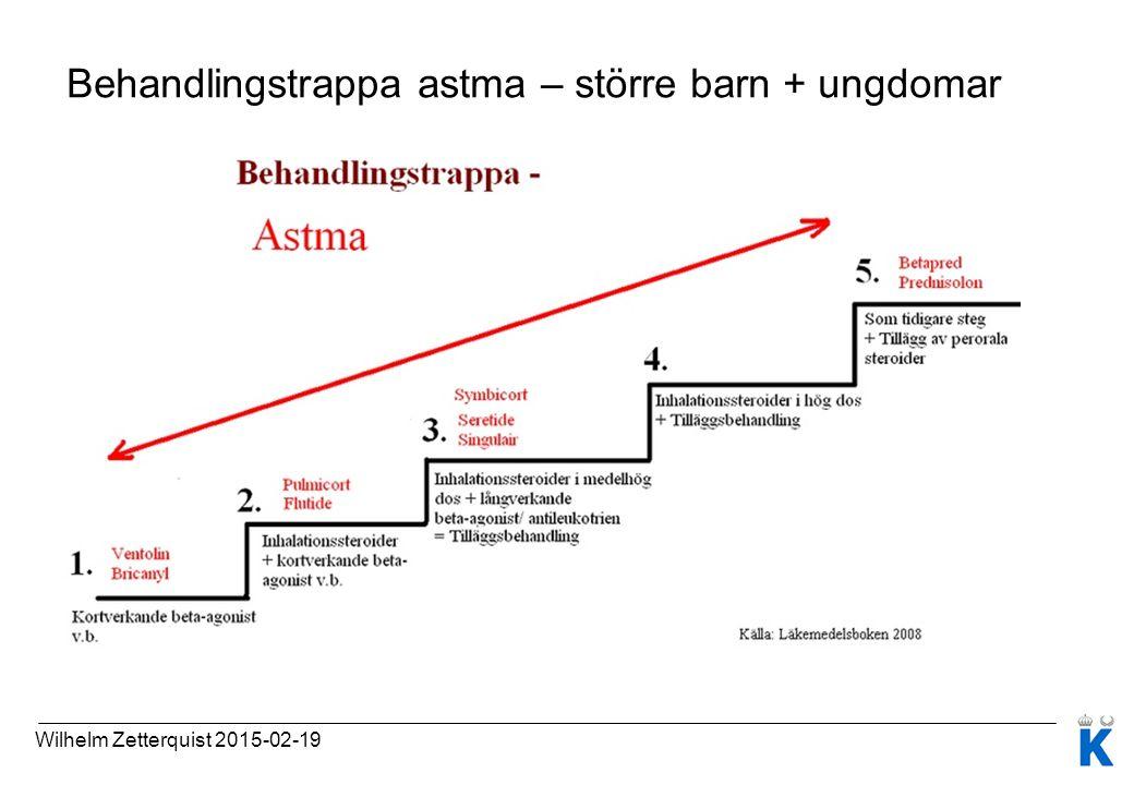 Behandlingstrappa astma – större barn + ungdomar