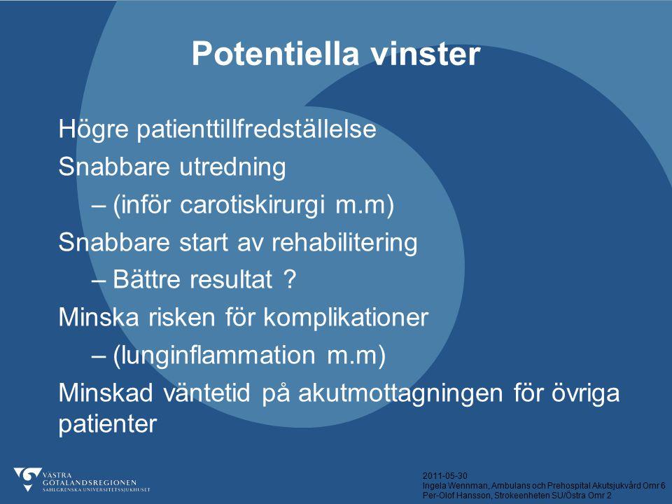 Potentiella vinster Högre patienttillfredställelse Snabbare utredning