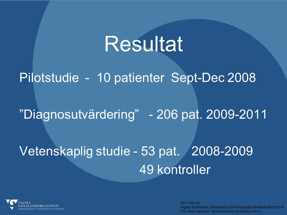 Resultat Pilotstudie - 10 patienter Sept-Dec 2008
