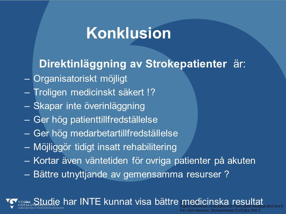 Direktinläggning av Strokepatienter är: