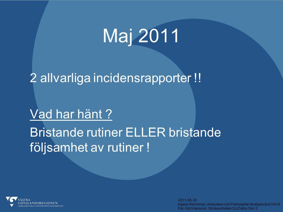 Maj 2011 2 allvarliga incidensrapporter !! Vad har hänt