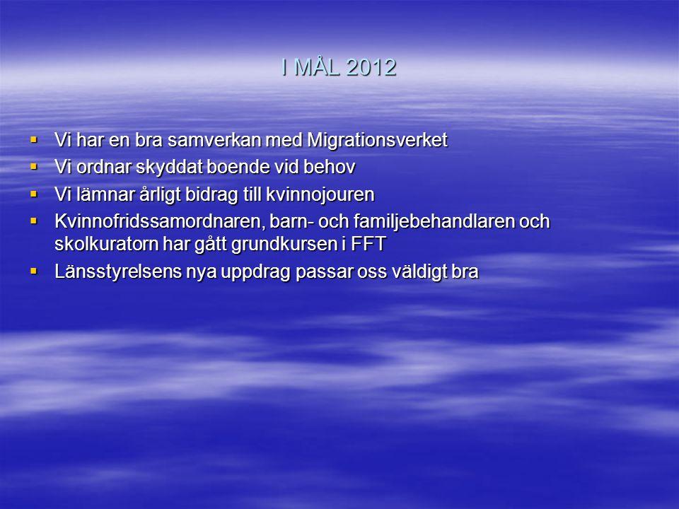 I MÅL 2012 Vi har en bra samverkan med Migrationsverket