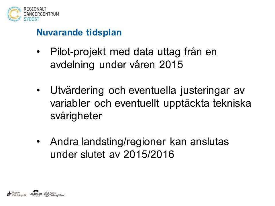 Pilot-projekt med data uttag från en avdelning under våren 2015