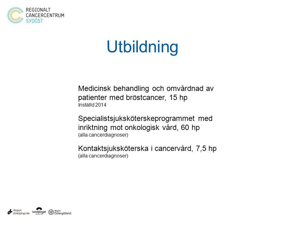 Utbildning Medicinsk behandling och omvårdnad av patienter med bröstcancer, 15 hp. Inställd 2014.