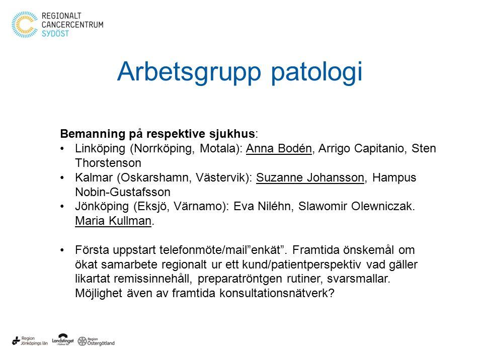 Arbetsgrupp patologi Bemanning på respektive sjukhus: