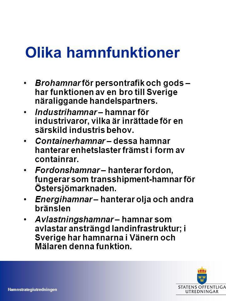 Olika hamnfunktioner Brohamnar för persontrafik och gods – har funktionen av en bro till Sverige näraliggande handelspartners.