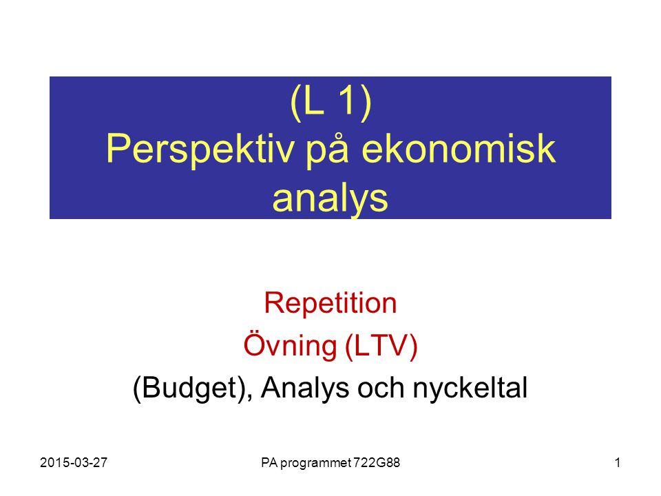 (L 1) Perspektiv på ekonomisk analys