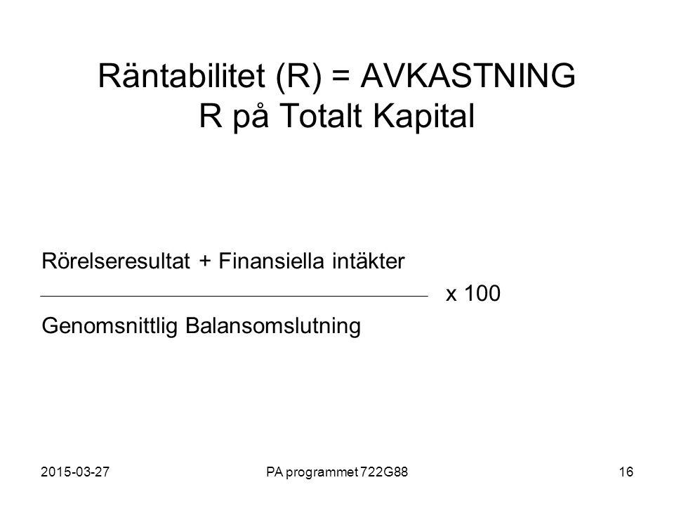 Räntabilitet (R) = AVKASTNING R på Totalt Kapital