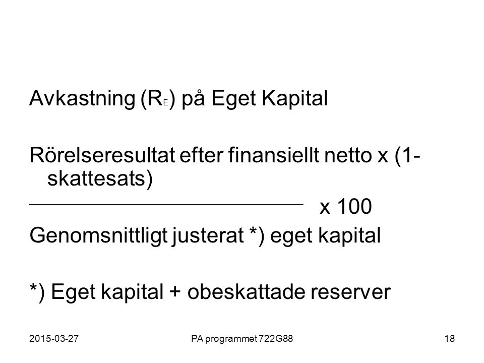 Avkastning (RE) på Eget Kapital