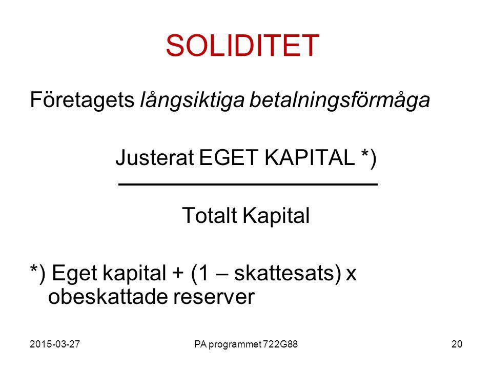 Justerat EGET KAPITAL *)