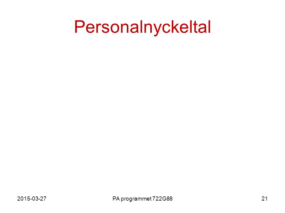 Personalnyckeltal 2017-04-08 PA programmet 722G88