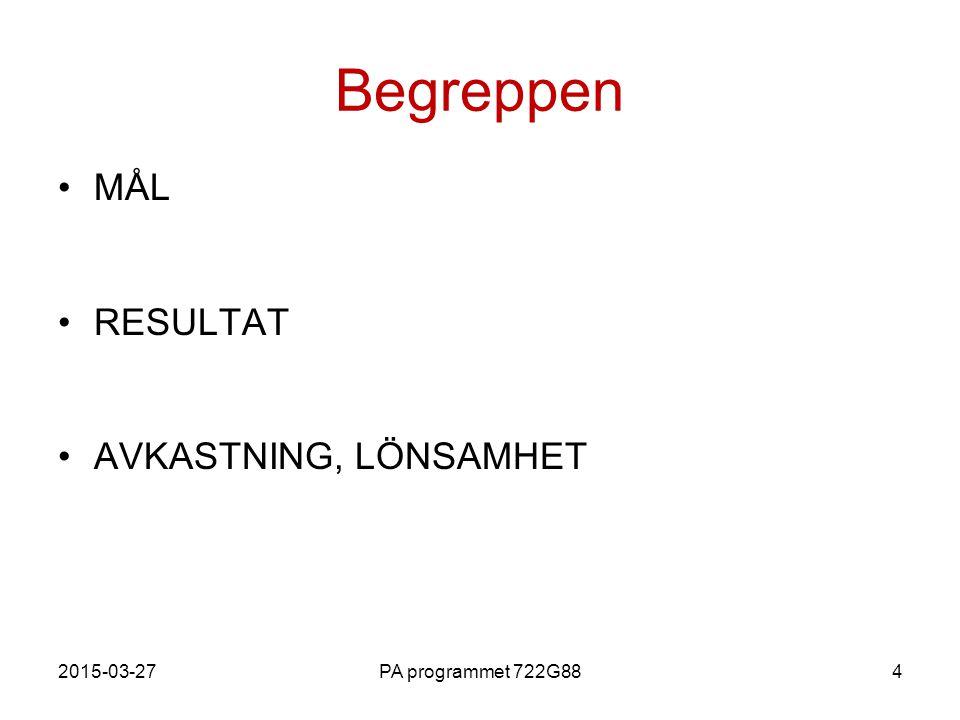 Begreppen MÅL RESULTAT AVKASTNING, LÖNSAMHET 2017-04-08