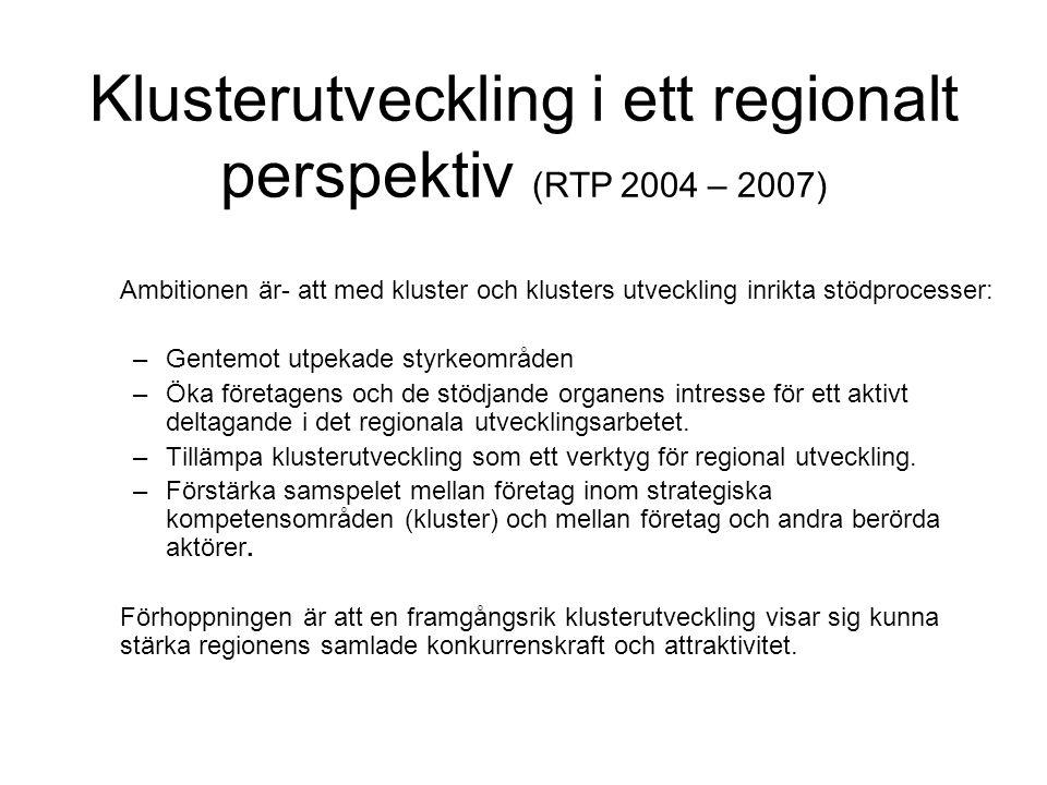 Klusterutveckling i ett regionalt perspektiv (RTP 2004 – 2007)