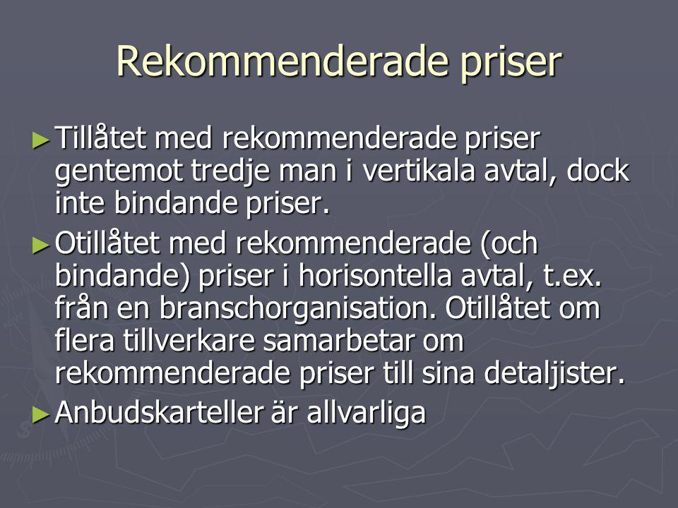 Rekommenderade priser