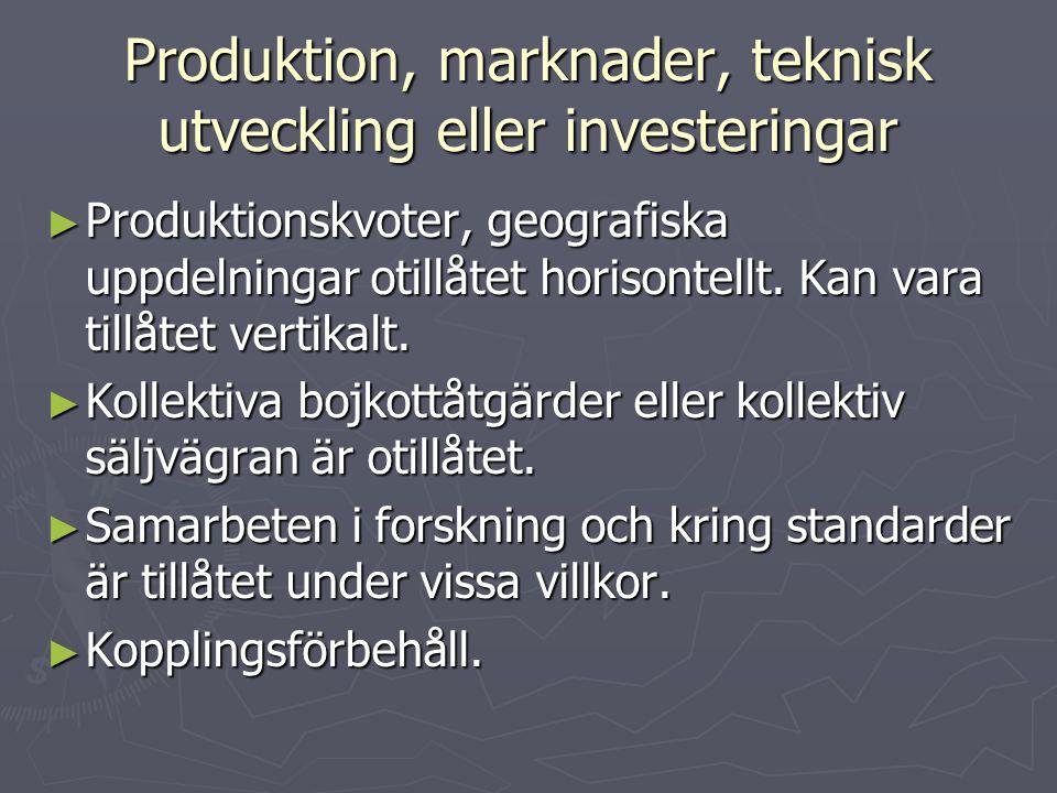Produktion, marknader, teknisk utveckling eller investeringar