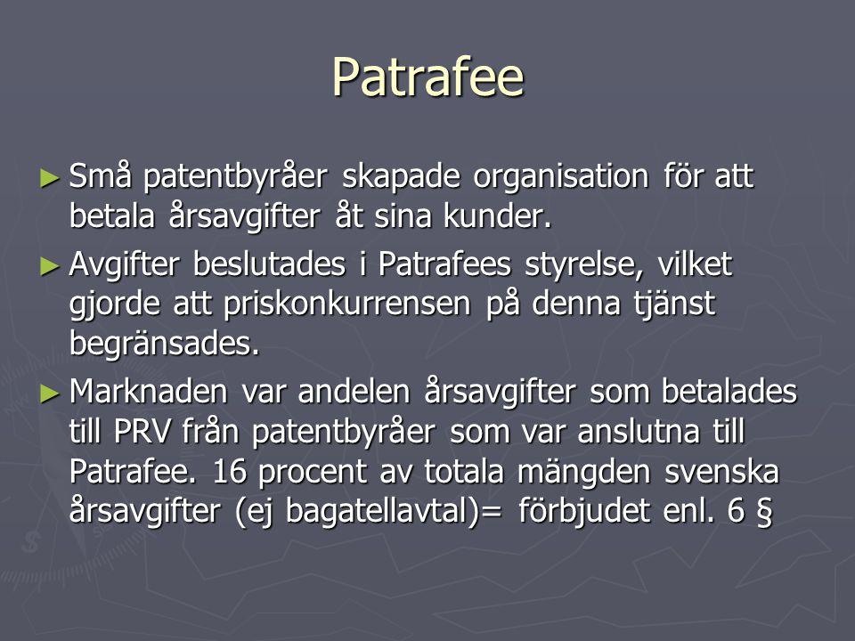 Patrafee Små patentbyråer skapade organisation för att betala årsavgifter åt sina kunder.