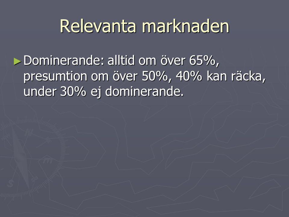 Relevanta marknaden Dominerande: alltid om över 65%, presumtion om över 50%, 40% kan räcka, under 30% ej dominerande.