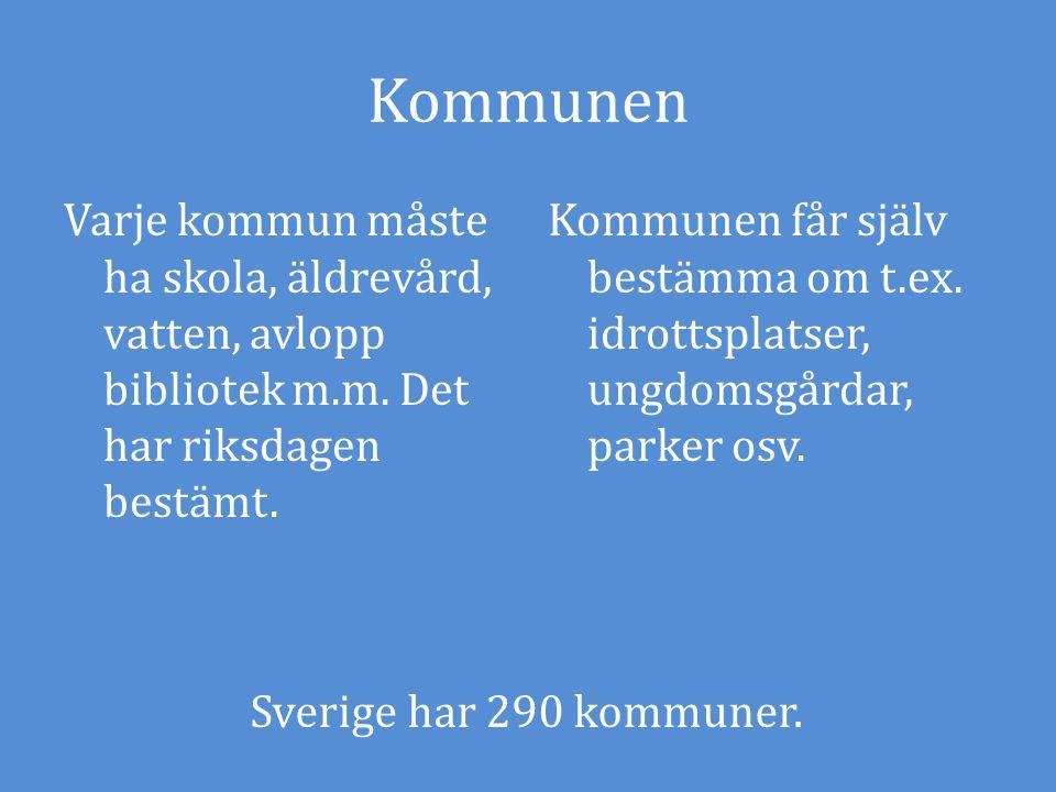 Kommunen Varje kommun måste ha skola, äldrevård, vatten, avlopp bibliotek m.m. Det har riksdagen bestämt.