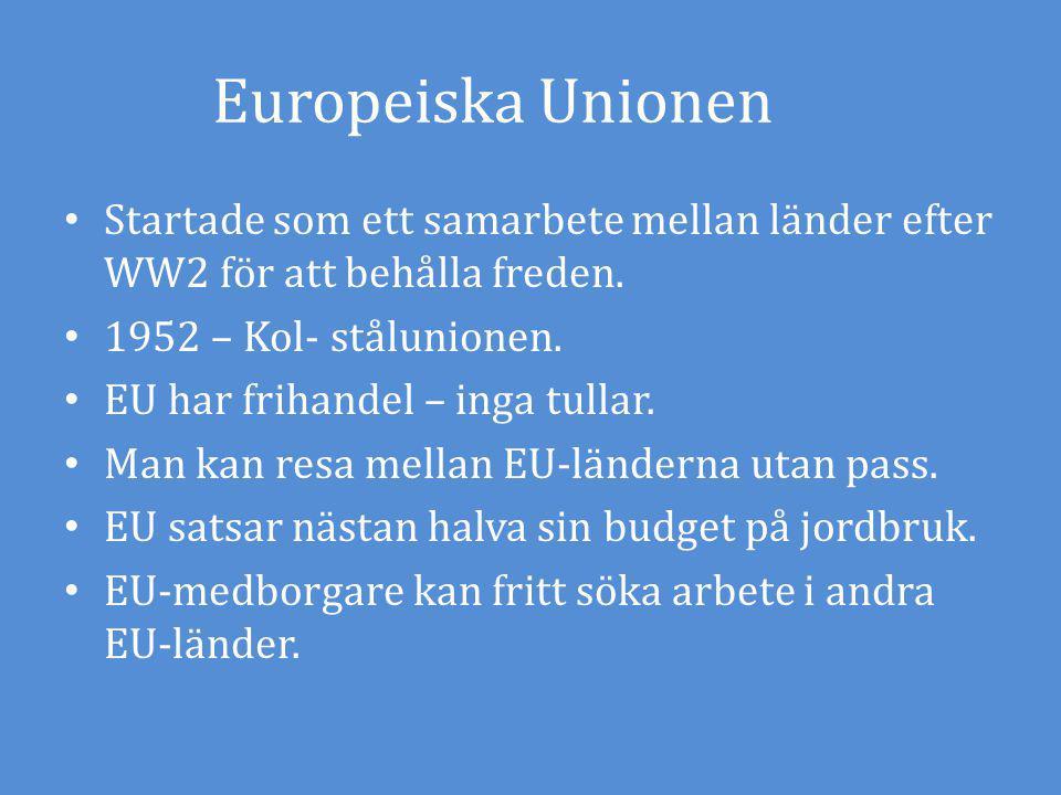 Europeiska Unionen Startade som ett samarbete mellan länder efter WW2 för att behålla freden. 1952 – Kol- stålunionen.