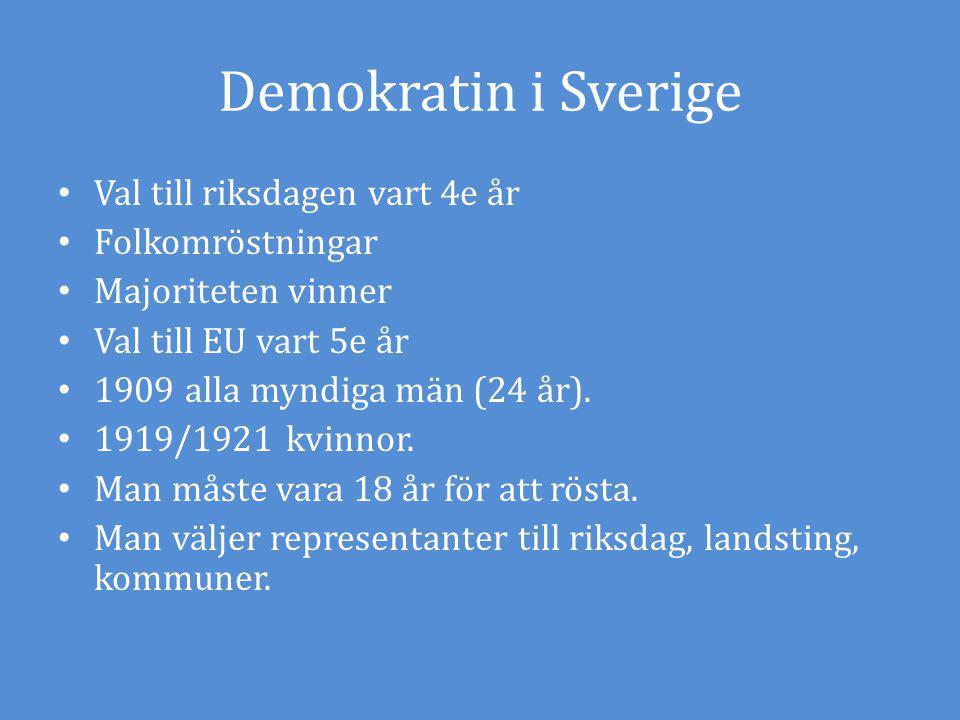 Demokratin i Sverige Val till riksdagen vart 4e år Folkomröstningar