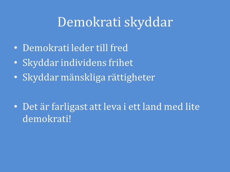 Demokrati skyddar Demokrati leder till fred Skyddar individens frihet