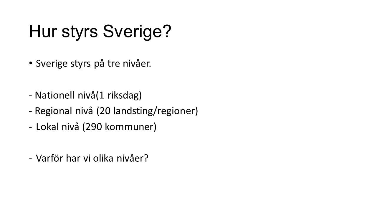 Hur styrs Sverige Sverige styrs på tre nivåer.