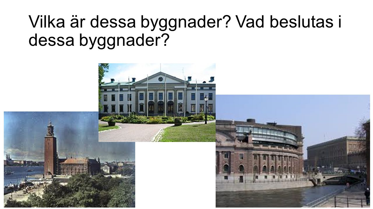 Vilka är dessa byggnader Vad beslutas i dessa byggnader