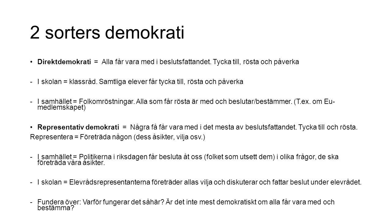 2 sorters demokrati Direktdemokrati = Alla får vara med i beslutsfattandet. Tycka till, rösta och påverka.