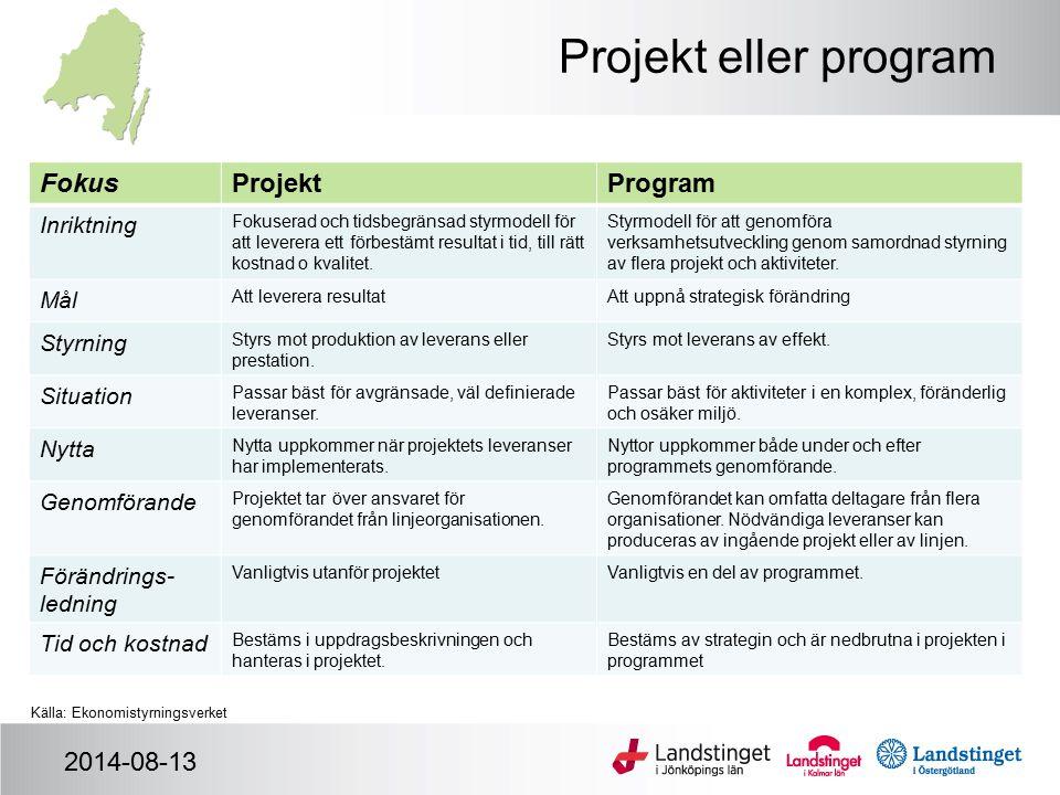 Projekt eller program Fokus Projekt Program 2014-08-13 Inriktning Mål