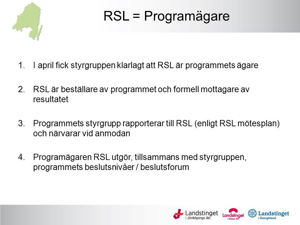 RSL = Programägare I april fick styrgruppen klarlagt att RSL är programmets ägare.