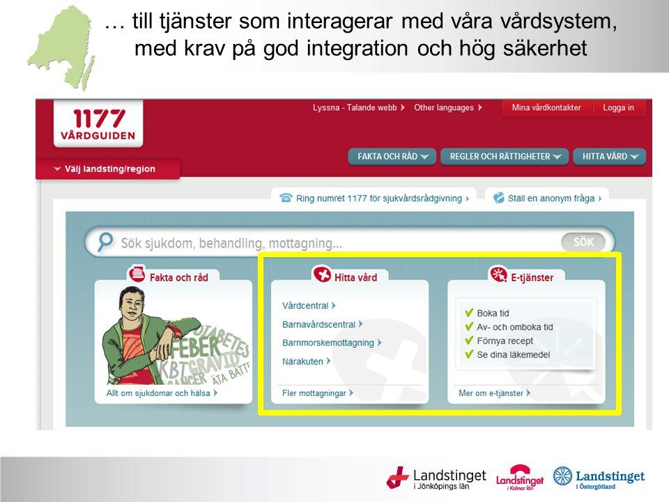 … till tjänster som interagerar med våra vårdsystem, med krav på god integration och hög säkerhet