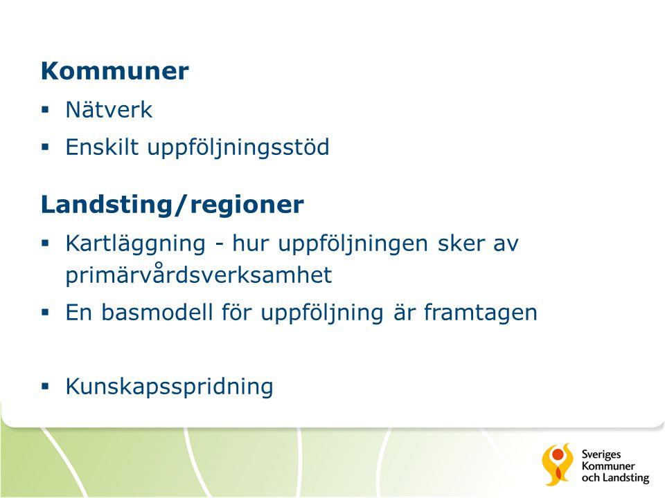 Kommuner Landsting/regioner Nätverk Enskilt uppföljningsstöd