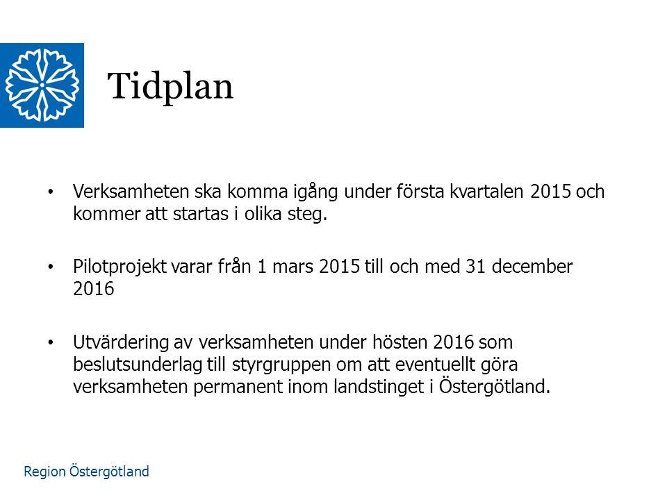 Tidplan Verksamheten ska komma igång under första kvartalen 2015 och kommer att startas i olika steg.