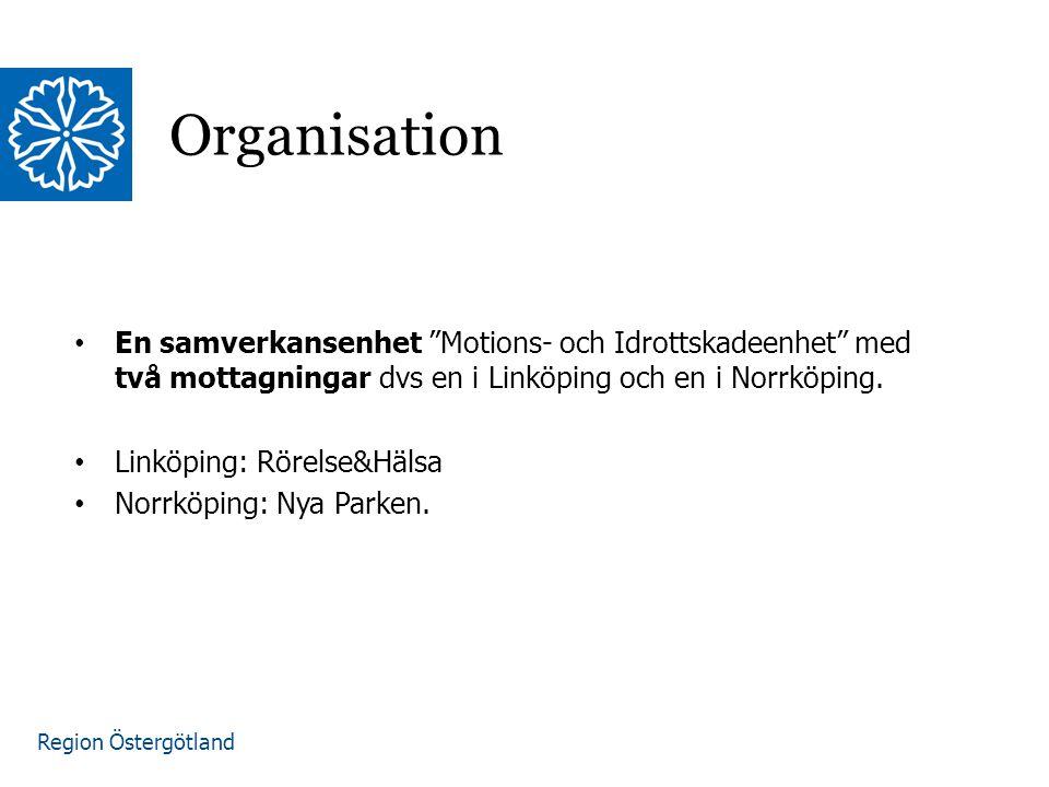 Organisation En samverkansenhet Motions- och Idrottskadeenhet med två mottagningar dvs en i Linköping och en i Norrköping.