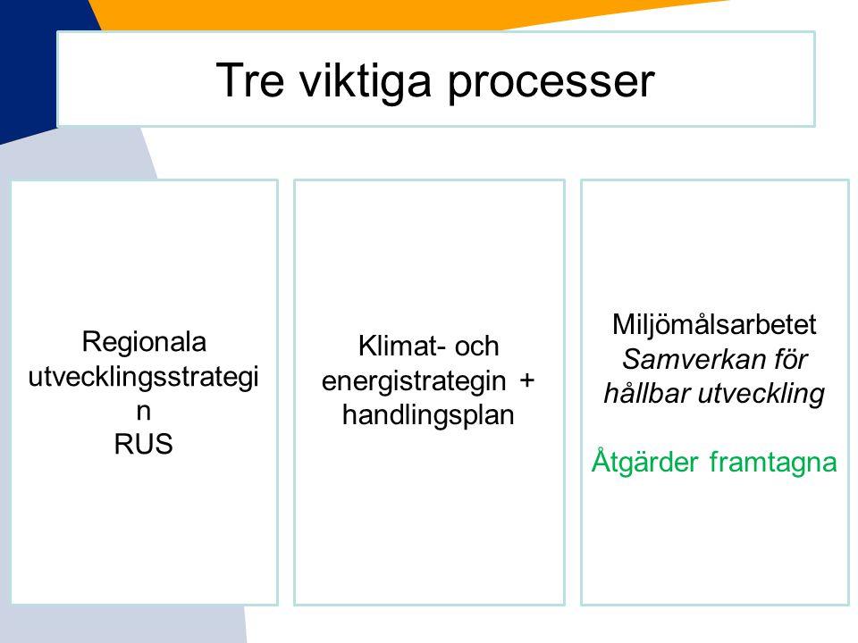 Tre viktiga processer Miljömålsarbetet Regionala utvecklingsstrategin