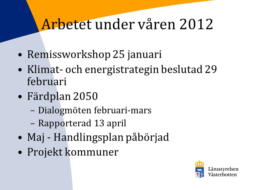 Arbetet under våren 2012 Remissworkshop 25 januari