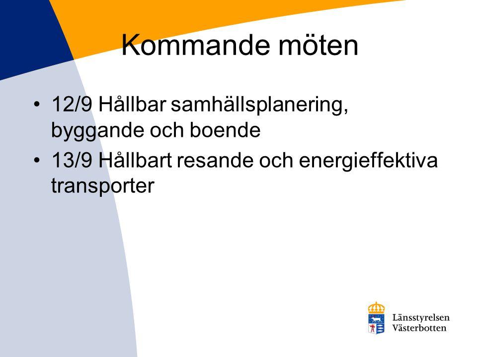 Kommande möten 12/9 Hållbar samhällsplanering, byggande och boende