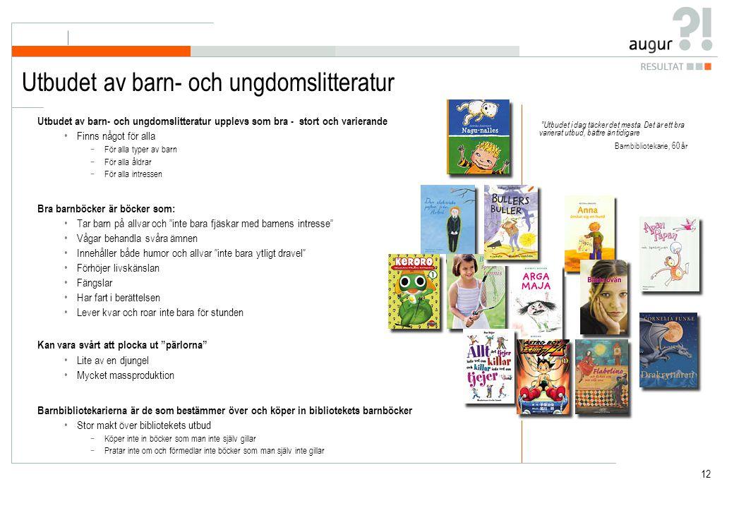 Utbudet av barn- och ungdomslitteratur