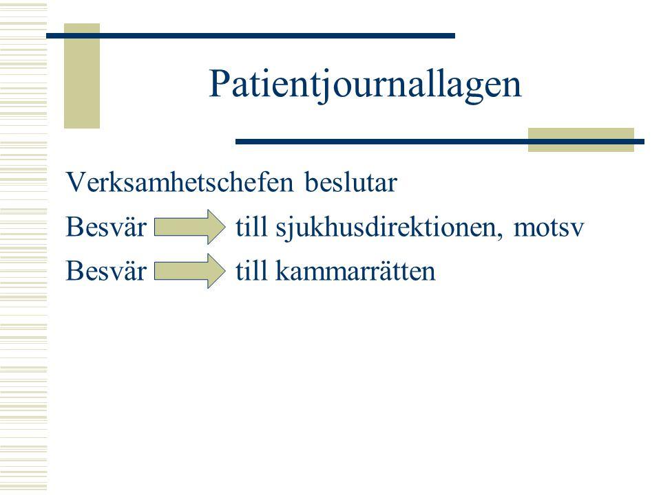 Patientjournallagen Verksamhetschefen beslutar