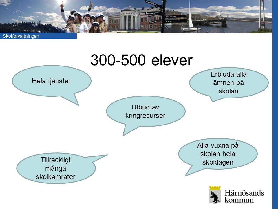 300-500 elever Erbjuda alla ämnen på skolan Hela tjänster