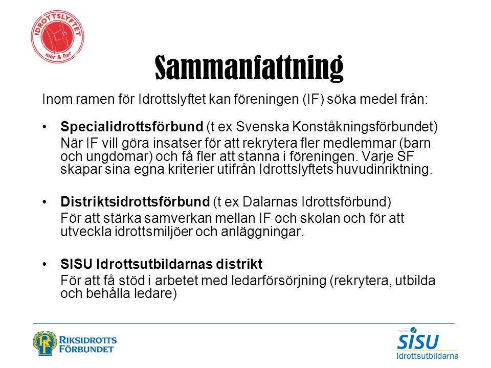 Sammanfattning Inom ramen för Idrottslyftet kan föreningen (IF) söka medel från: Specialidrottsförbund (t ex Svenska Konståkningsförbundet)