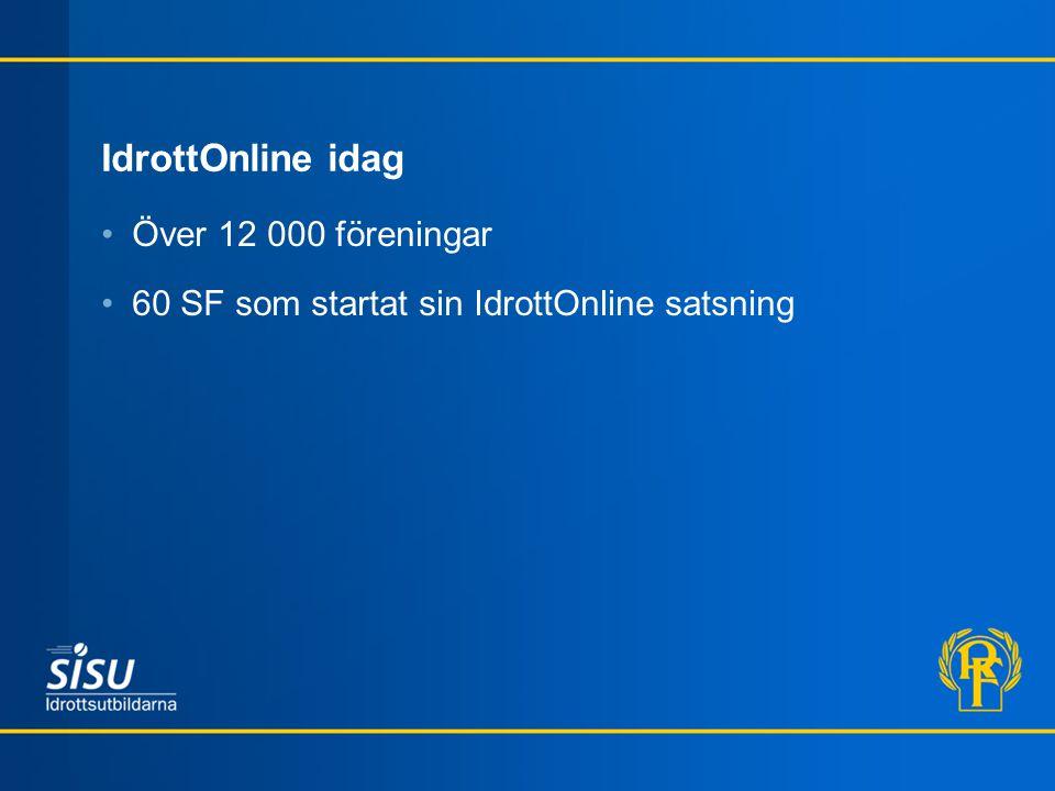 IdrottOnline idag Över 12 000 föreningar
